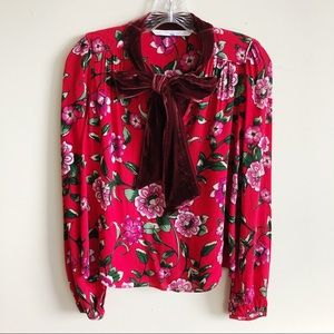 Zara Red Floral Velvet Pussy Bow Swing Top XS